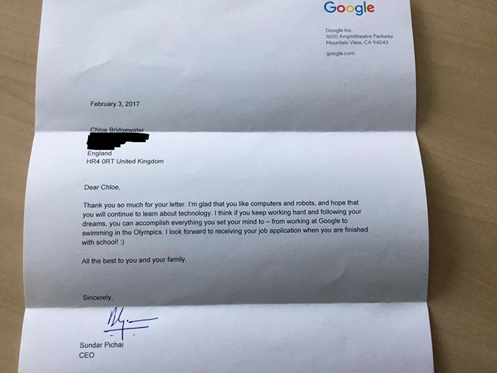 girl job application google chloe bridgewater 2 - 7-Year-Old Girl Writes To Google For A Job, Gets A Priceless Letter From The CEO Himself