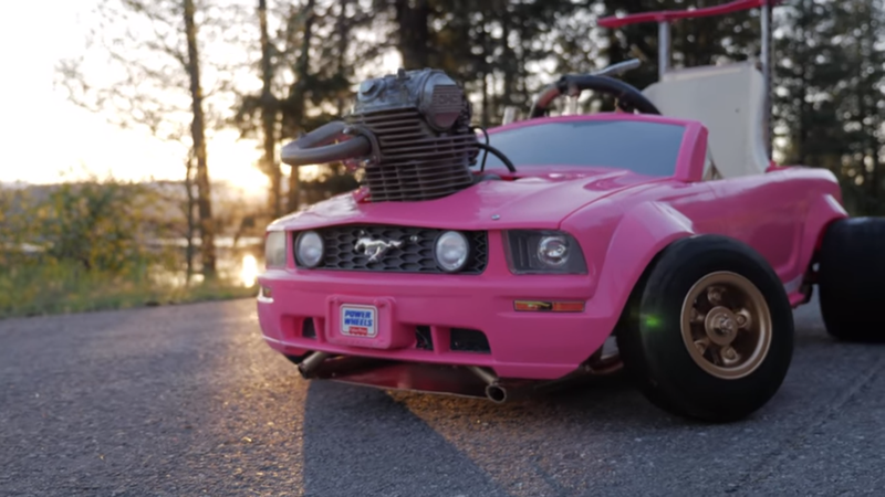 Power Wheels For Big Kids >> Pink Barbie Mustang Gets A Real 240cc Engine - Madspread