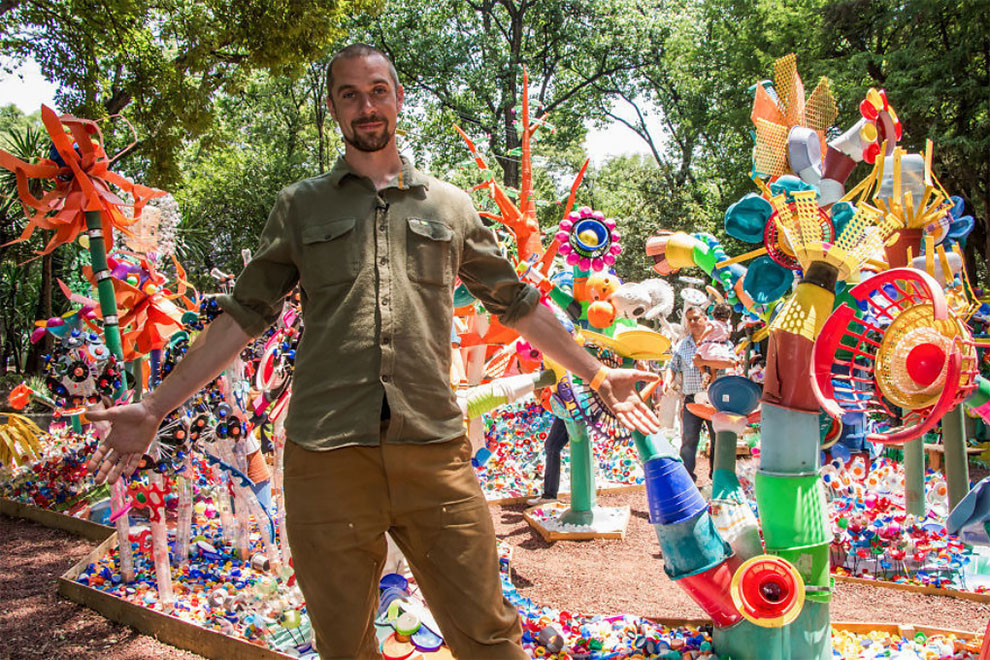 1 13 - Artist Turned Plastic Waste Into A Colorful Forest In Mexico City