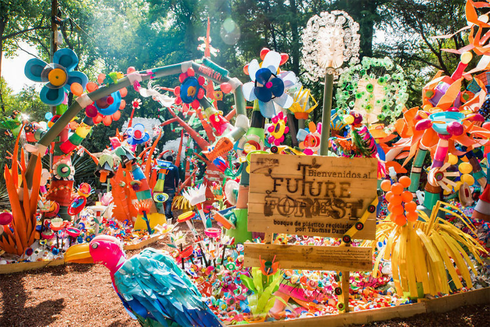 2 13 - Artist Turned Plastic Waste Into A Colorful Forest In Mexico City