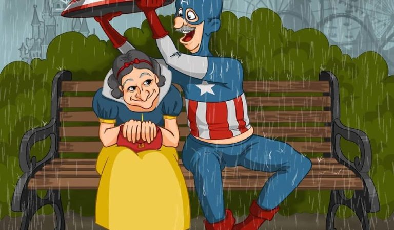 superhero cartoon characters become old