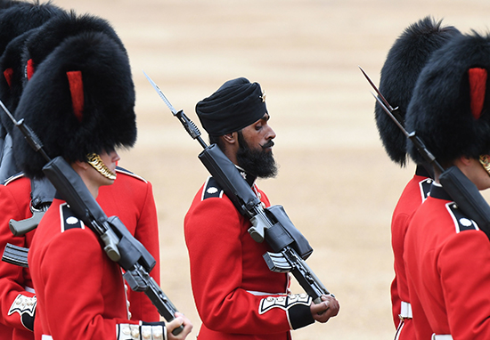 TroopingThecolour2018 1 - First Soldier To Wear Turban Instead Of Bearskin Hat During March Is 'Hoping To Change History'