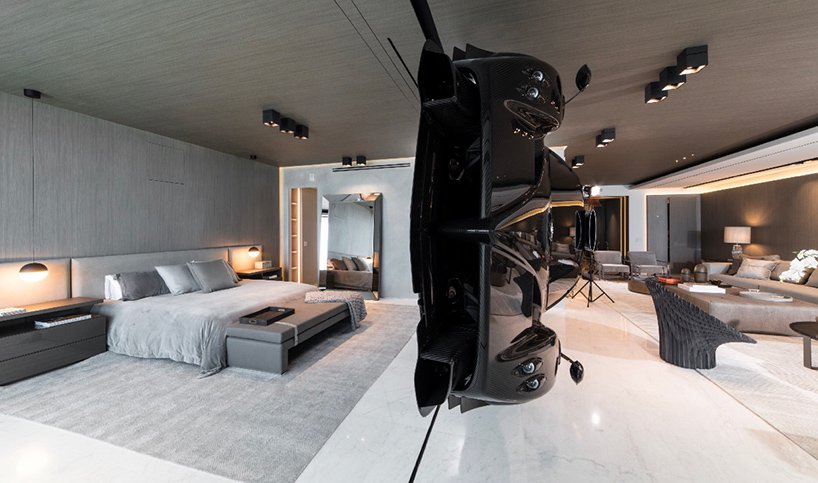 designboom pagani car home 1 - This Miami Residence Has A $1.5 million Pagani Zonda Mounted On The Wall
