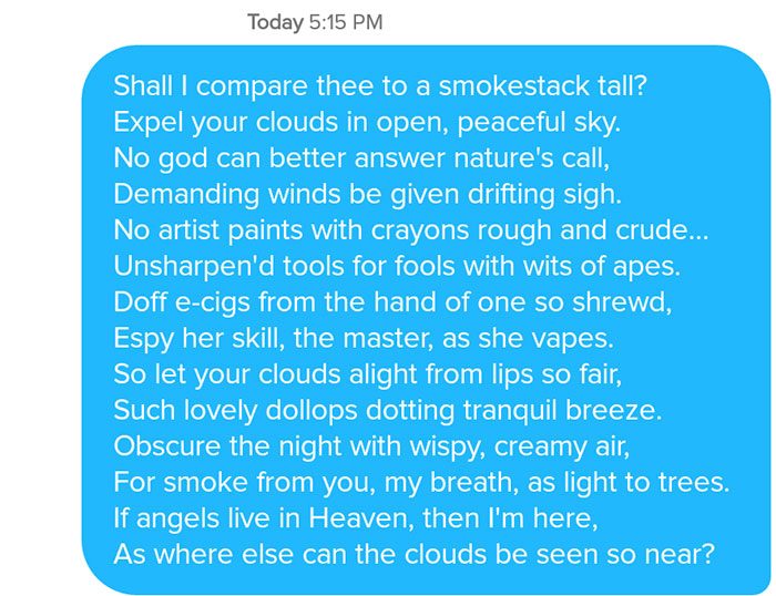 funny tinder chat sonnet 12 - This Guy's Secret Tinder Chat Is Going Viral For Very Fascinating Reasons