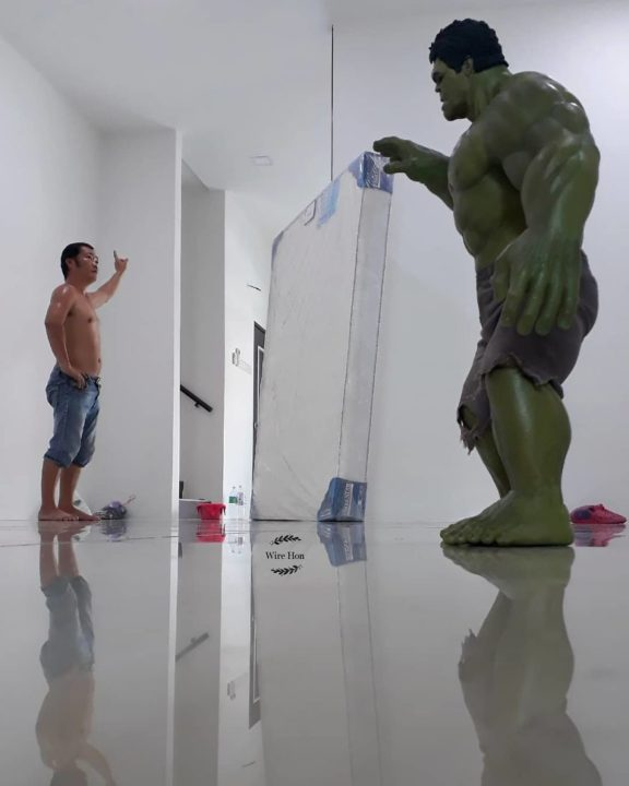 With just one smartphone man makes incredible pictures of him with toy superheroes using perspective 5b87a8485004f  880 - What If Superheroes Were Your Servants!