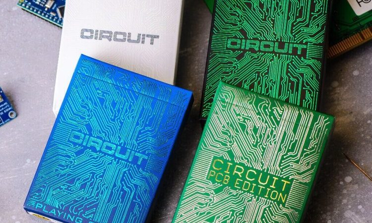 Playing Card Decks That Feature A Printed Circuit Board Design